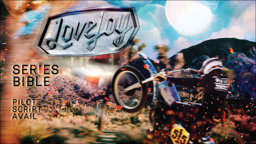 TV Series Pitch Cover with guy riding a vintage dirt bike wheelie in Joshua Tree desert