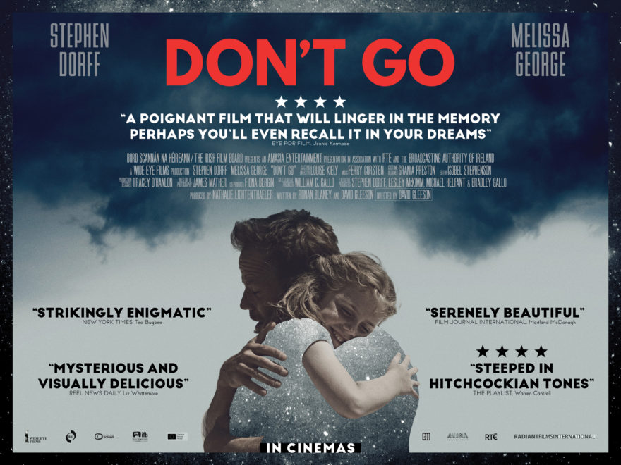Stephen Dorff father and daughter hugging on the London Premiere British Quad Crown Theatre Poster with pull quotes of movie reviews