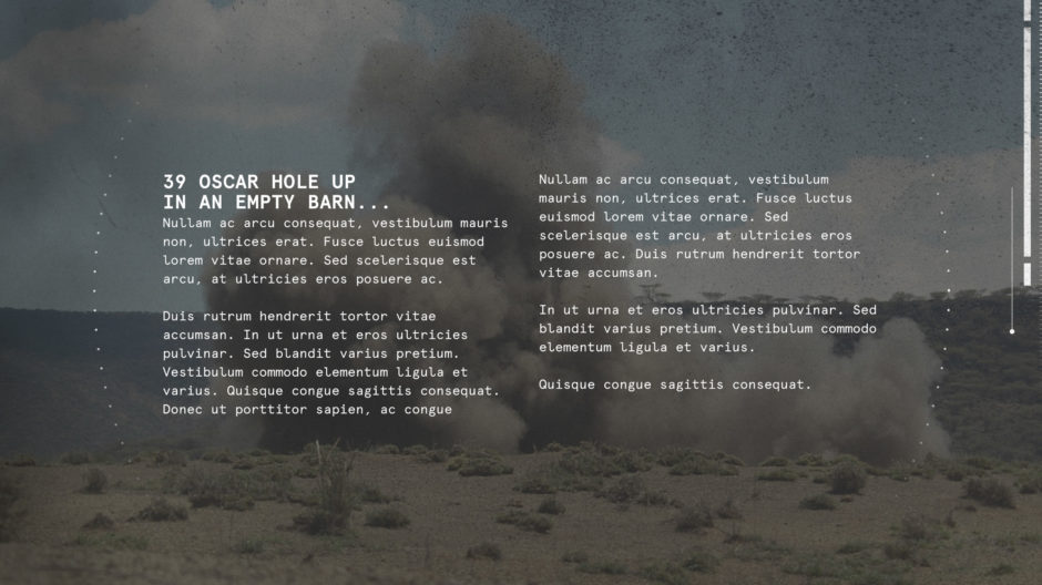 white text over IED bomb explosion dust cloud