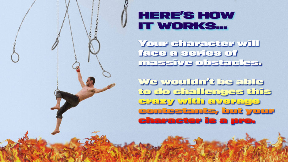 stunt man on rings over fire