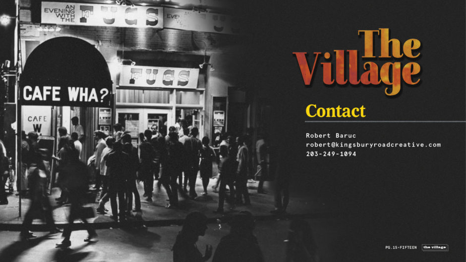 """""""The Village"""" One-Hour Drama Pitch Deck Contact Page"""