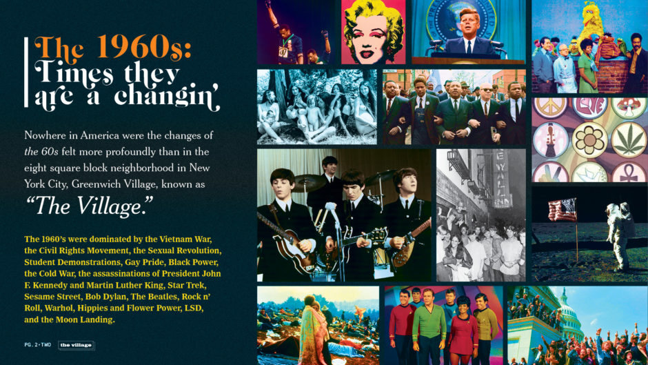 1960s pop icons including Andy Warhol, JFK, The Beatles, and Woodstock