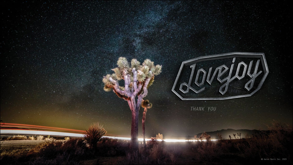 long exposure of light streaks with Joshua Tree and tv show title treatment
