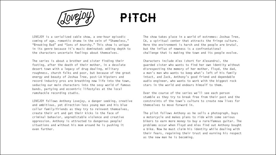a one page pitch for a tv series bible with title treatment, black and white text