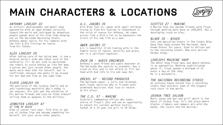 character descriptions and locations with title treatment for tv series show bible, black and white text