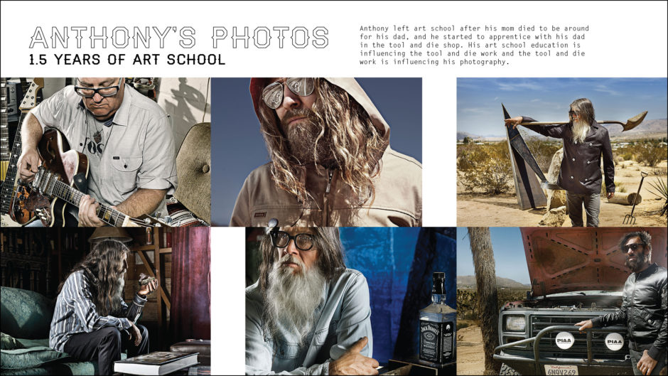 art direction for the main characters photography, cool and hip men with beards in desert playing guitar.