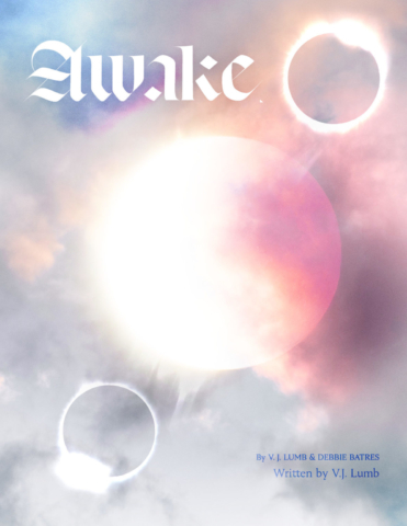Etherial eclipse with colorful clouds and modern blackletter title treatment