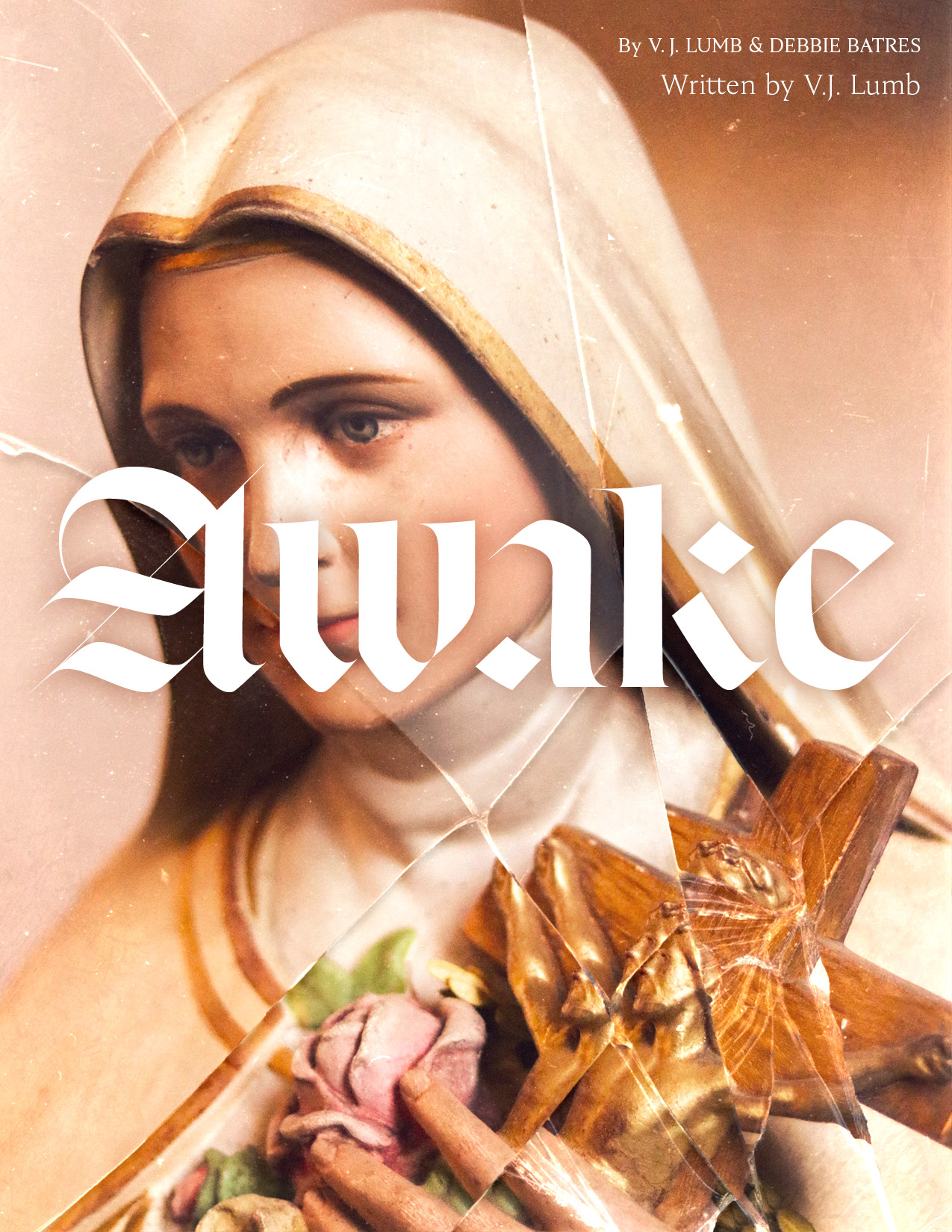 Virgin Mary stature behind cracked glass and modern black letter title treatment