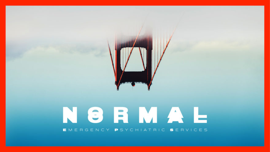 Upside Down Golden Gate Bridge Above Clouds with white TV Show Title