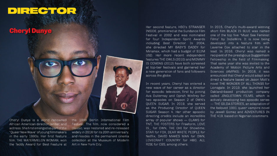 Honest portrait of Black Female Film Director with a clean type layout