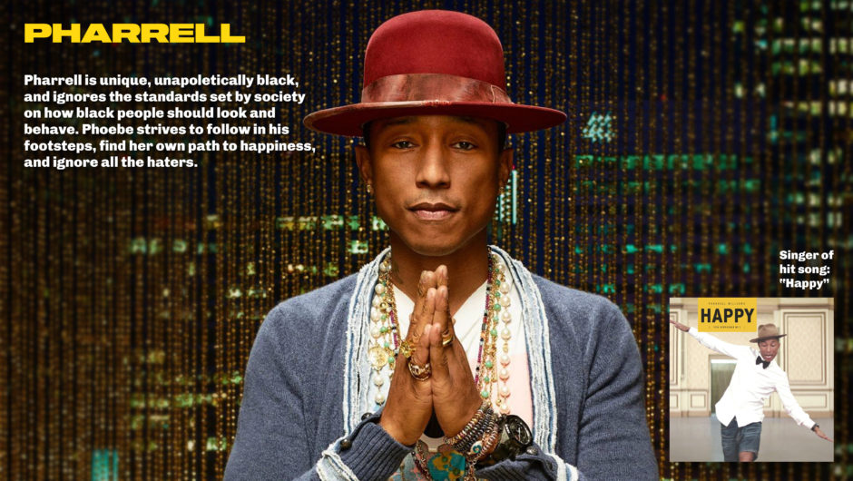 Pharrell in red hat with praying hards in Oakland